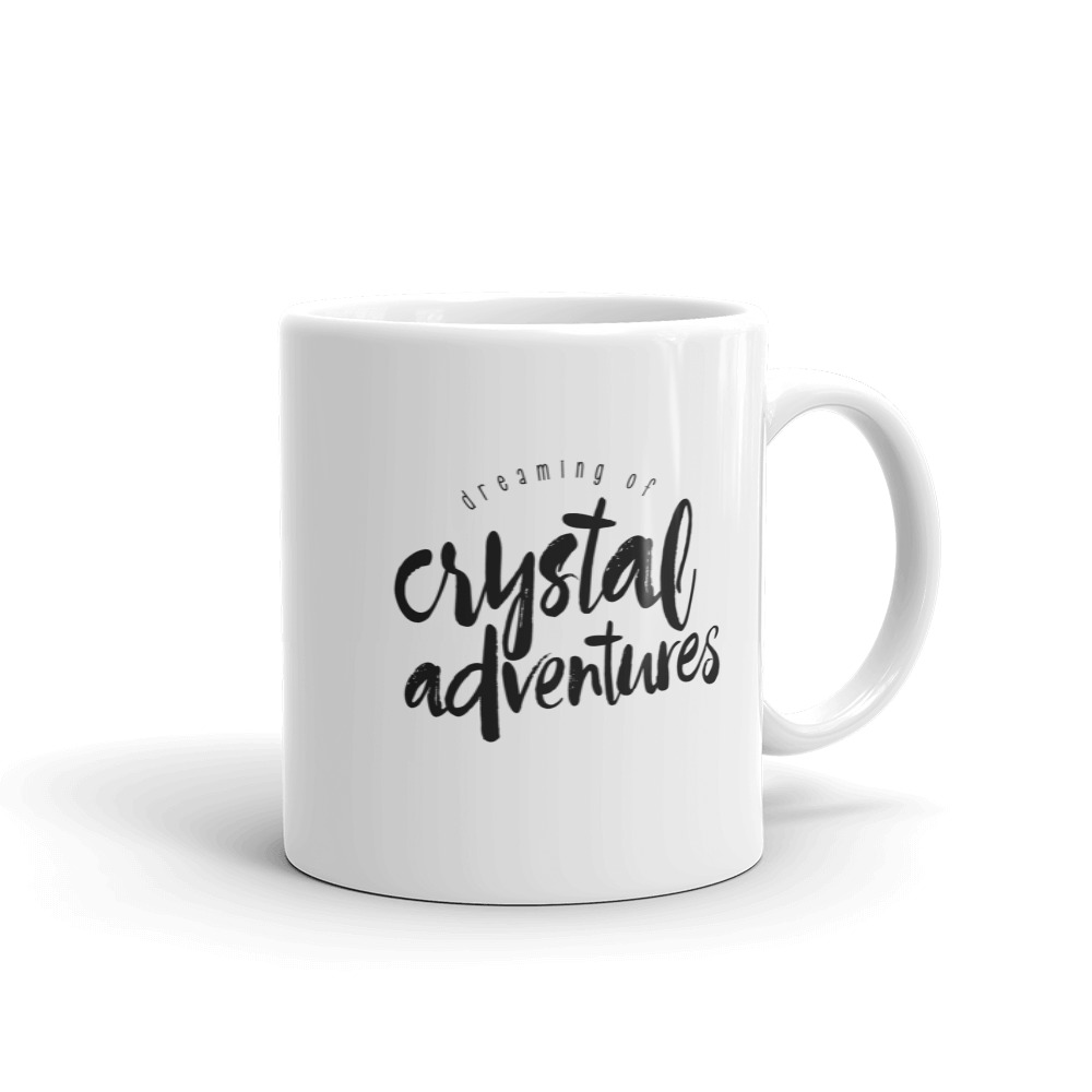 Crystal Adventures brush lettering mug by Aussie Mineral Hub