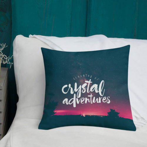 'Dreaming of Crystal Adventures' throw pillow by Aussie Mineral Hub
